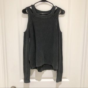 Hollister Cold Shoulder Charcoal Sweater Small